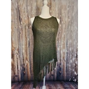 Atmosphere Hamsa Sheer Sleeveless HiLo Top Size 8